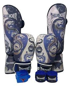Super Kit de Muay Thai / Kickboxing 12oz - Caneleira M - Dragão Azul - Thunder Fight