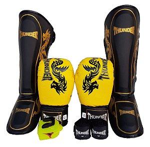 Super Kit de Muay Thai / Kickboxing 12oz - Caneleira G - Dragão Amarelo - Thunder Fight