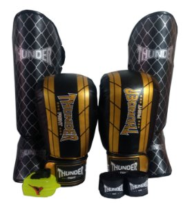 Kit de Muay Thai / Kickboxing 16oz - Preto / Dourado - Thunder Fight