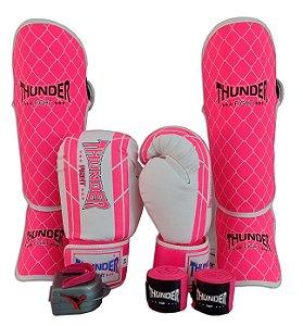 Kit de Muay Thai / Kickboxing 10oz Feminino - Branco / Rosa - Thunder Fight