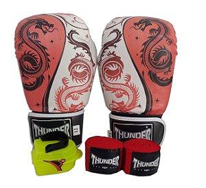 Kit de Boxe / Muay Thai 14oz - Dragão Vermelho - Thunder Fight