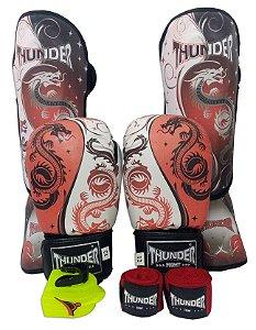 Super Kit de Muay Thai / Kickboxing 14oz - Caneleira M - Dragão Vermelho - Thunder Fight