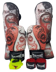 Super Kit de Muay Thai / Kickboxing 12oz - Caneleira M - Dragão Vermelho - Thunder Fight