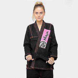 Kimono Feminino Jiu-jitsu - F1 - Preto / Rosa - Naja Colors