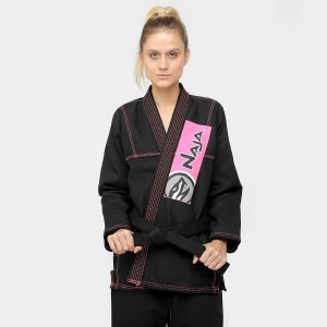 Kimono Feminino Jiu-jitsu - F0 - Preto / Rosa - Naja Colors