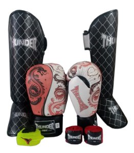 Kit de Muay Thai / Kickboxing 12oz - Dragão Vermelho - Thunder Fight