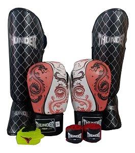 Kit de Muay Thai / Kickboxing 14oz - Dragão Vermelho - Thunder Fight