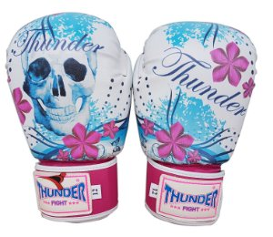 Luva de Boxe / Muay Thai 12oz Feminina - Caveira Rosa / Azul - Thunder Fight