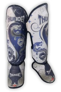 Caneleira Muay Thai MMA Dragão Azul New Médio 30mm Thunder Fight