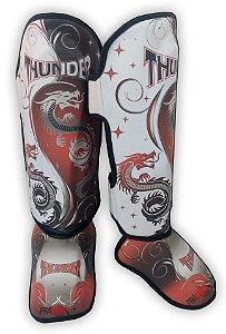 Caneleira Muay Thai MMA Dragão Vermelha New Médio 30mm Thunder Fight