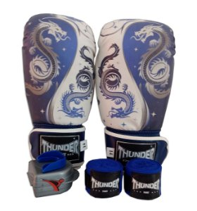 Kit de Boxe / Muay Thai 10oz - Dragão Azul - Thunder Fight