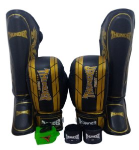 Super Kit de Muay Thai / Kickboxing 16oz - Caneleira M - Preto / Dourado - Thunder Fight