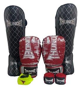 Kit de Muay Thai / Kickboxing 12oz - Preto /  Vermelho - Thunder Fight