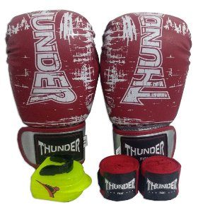 Kit de Boxe / Muay Thai 12oz - Vermelho Riscado - Thunder Fight