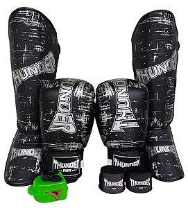 Super Kit de Muay Thai / Kickboxing 12oz - Caneleira G - Preto Riscado - Thunder Fight