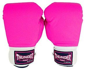Luva de Boxe / Muay Thai Feminina  8oz  - Rosa  - Thunder Fight