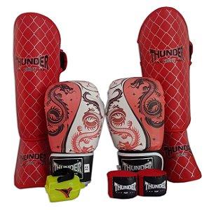 Kit de Muay Thai / Kickboxing 10oz - Dragão Vermelho - Thunder Fight
