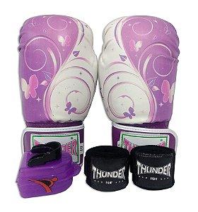 Kit de Boxe / Muay Thai 10oz Feminino - Borboleta Lilás - Thunder Fight