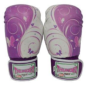 Luva de Boxe / Muay Thai 10oz Feminina - Borboleta Lilás  - Thunder Fight