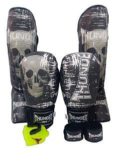 Super Kit de Muay Thai / Kickboxing 12oz - Caneleira M - Caveira - Thunder Fight