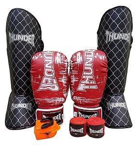 Kit de Muay Thai / Kickboxing 14oz - Vermelho Riscado - Thunder Fight