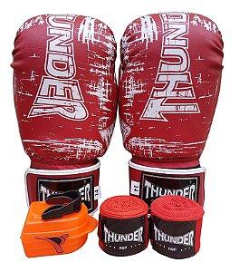 Kit de Boxe / Muay Thai 14oz - Vermelho Riscado - Thunder Fight