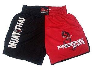 Shorts de Muay Thai Masculino - Preto / Vermelho - Progne