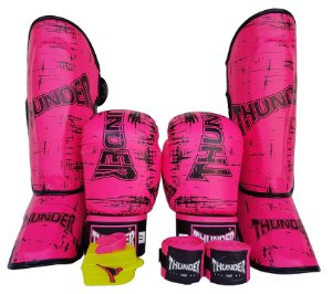 Super Kit Feminino de Muay Thai / Kickboxing 12oz - Caneleira M - Rosa - Thunder Fight