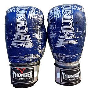 Luva de Boxe / Muay Thai 12oz  - Azul Riscado - Thunder Fight