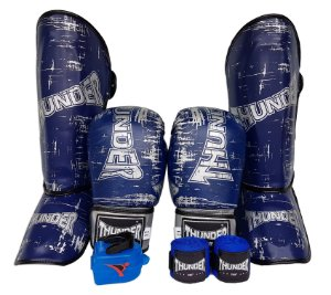 Super Kit de Muay Thai / Kickboxing 12oz - Caneleira M - Azul Riscado - Thunder Fight