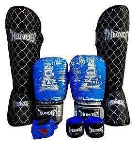 Kit de Muay Thai / Kickboxing 14oz - Azul Riscado - Thunder Fight