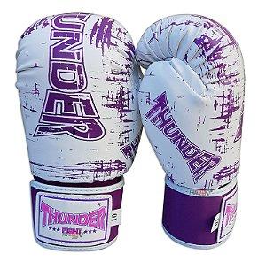 Luva de Boxe / Muay Thai 10oz Feminina - Branco / Lilás - Thunder Fight