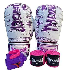 Kit de Boxe / Muay Thai 10oz Feminino - Branco / Lilás - Thunder Fight