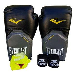 Kit de Boxe / Muay Thai 14oz Preto Pro Style Everlast