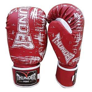 Luva de Boxe / Muay Thai 14oz  - Vermelho Riscado  - Thunder Fight