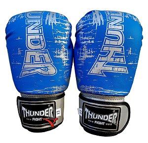 Luva de Boxe / Muay Thai 14oz  - Azul Riscado  - Thunder Fight