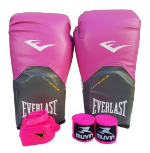 Kit de Boxe / Muay Thai Feminino 14oz Rosa Pro Style Everlast