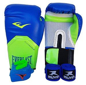 Kit de Boxe / Muay Thai 12oz Azul com Verde Pro Style Everlast