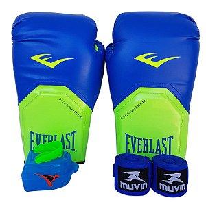 Kit de Boxe / Muay Thai 14oz Azul com Verde Pro Style Everlast