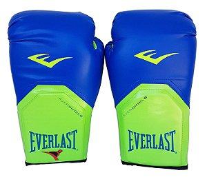 Luva de Boxe / Muay Thai 12oz Azul com Verde Pro Style Everlast