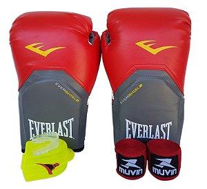Kit de Boxe / Muay Thai 14oz Vermelho Pro Style Everlast