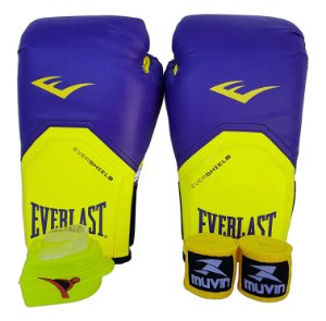 Kit de Boxe / Muay Thai 12oz Roxo com Amarelo Pro Style Everlast