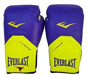 Luva de Boxe / Muay Thai 12oz Roxo com Amarelo Pro Style Everlast