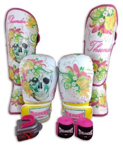 Kit de Muay Thai / Kickboxing 12oz Feminino - Caveira Amarelo - Thunder Fight