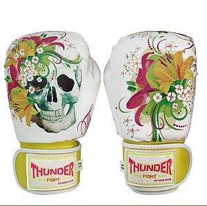 Luva de Boxe / Muay Thai 12oz Feminina - Caveira Amarelo - Thunder Fight