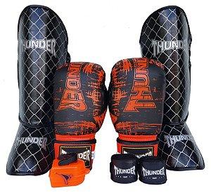 Kit de Muay Thai / Kickboxing 14oz - Preto e Laranja  - Thunder Fight