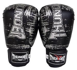 Luva de Boxe / Muay Thai 16oz  - Preto / Prata - Thunder Fight