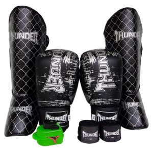 DUPLICADO - Kit de Muay Thai / Kickboxing 16oz - Preto / Dourado - Thunder Fight