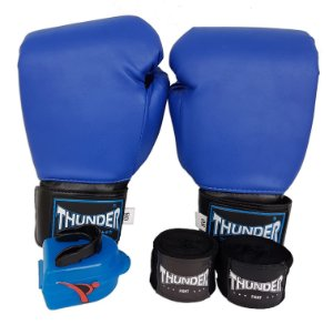 Kit de Boxe / Muay Thai 8oz - Azul  - Thunder Fight