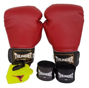 Kit de Boxe / Muay Thai 8oz - Vermelho  - Thunder Fight